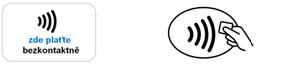 Piktogramy označující obchodní místa, která akceptují bezkontaktní karty.  Zdroj: www.kartyvbezpeci.cz